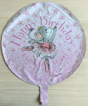 "Suzy's Zoo Tilly Mouse Ballerina Happy Birthday Pink 18"" Party Balloon"