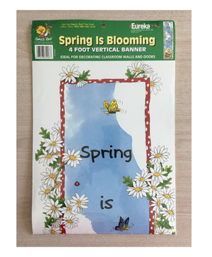 "Suzy's Zoo Spring Is Blooming Vertical Banner 12"" x 45"" Teacher Classroom Wall Decor"