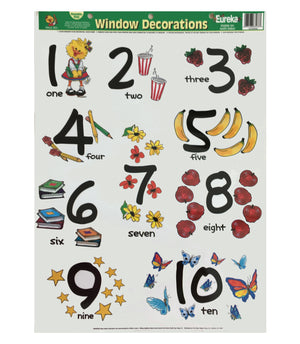 Suzy's Zoo Numbers Window Mirror Giant Educational Clings for Home or School