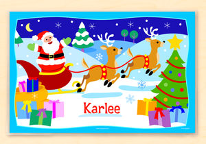 "Santa's Sleight Christmas Personalized Placemat 18"" x 12"" with Alphabet"