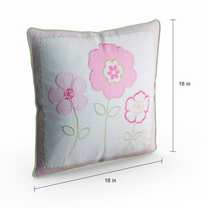 "Pink Flowers Decorative Throw Pillow Cotton 18"" x 18"""