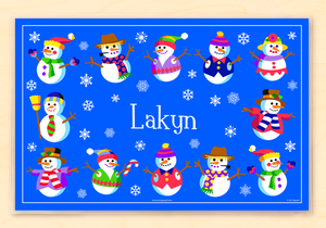 "12 Happy Snowmen Personalized Placemat 18"" x 12"" with Alphabet"