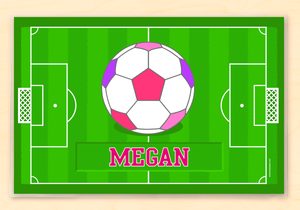 "Soccer Girl Kids Personalized Placemat 18"" x 12"" with Alphabet"