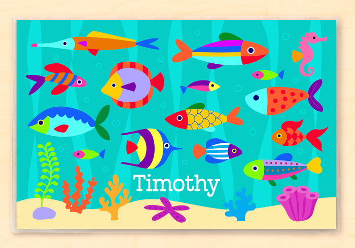 "Tropical Ocean Fish Kids Personalized Placemat 18"" x 12"" with Alphabet"