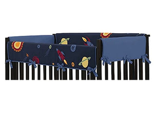 Outer Space Rockets Planets Navy Blue Reversible Crib Rail Guard Covers