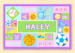 "Game On Sports Girl Personalized Placemat 18"" x 12"" with Alphabet Pink or Blue"