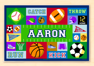 "Game On Sports Personalized Placemat 18"" x 12"" with Alphabet Blue or Pink"
