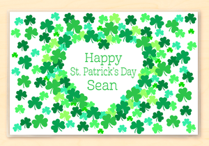"Shamrock St Patrick's Day Personalized Placemat 18"" x 12"" with Alphabet"