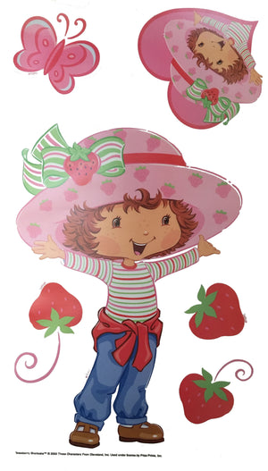 "Strawberry Shortcake Wall Stickers Decals 10"" x 18"" 4 Sheets Peel & Stick"