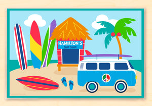 "Surf Shack Surfing Kids Personalized Placemat 18"" x 12"" with Alphabet"
