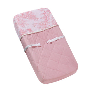 Pink Toile Baby Changing Pad Cover