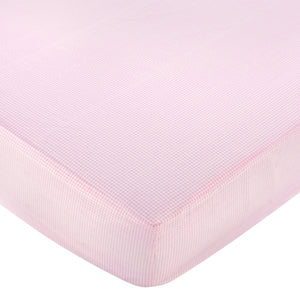 Pink White Gingham Print Crib Sheet
