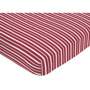 Red White Striped Crib Sheet