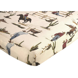Western Cowboy Fitted Crib Sheet
