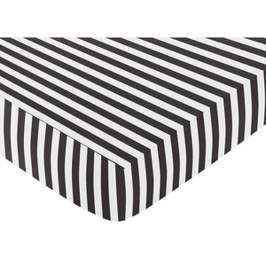 Black White Striped Baby or Toddler Fitted Crib Sheet