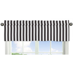 Black White Striped Window Valance