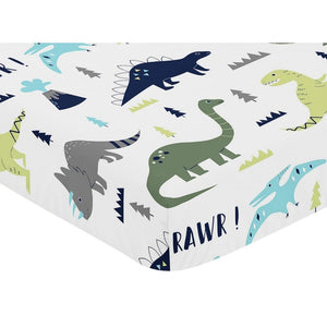 Rawr Blue Green Dinosaur Baby or Toddler Fitted Crib or Mini Crib Sheet