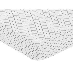 Grey Prehistoric Chevron Baby or Toddler Fitted Crib or Mini Crib Sheet