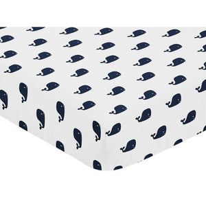 Navy Blue Whale Print Baby or Toddler Fitted Crib Sheet