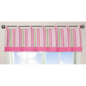 Pink Green Striped Window Valance for Girls Tab Top