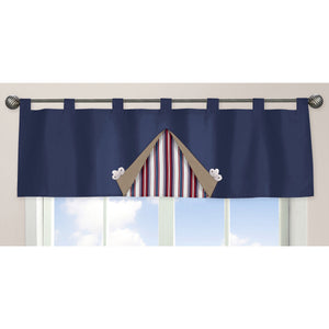 Navy Blue Nautical Window Valance Tab Top