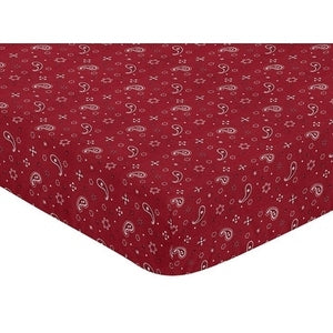Western Red Bandana Print Crib or Toddler Fitted Sheet