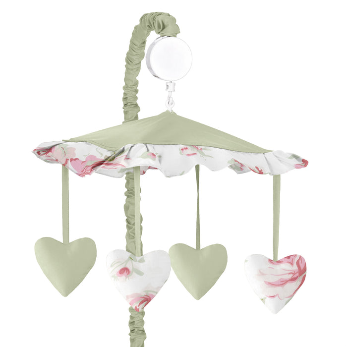 Riley's Roses Heart-Shaped Baby Girl Musical Crib Mobile