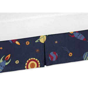 Space Galaxy Rockets Planets Crib Bed Skirt