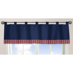 Navy Red White Striped Window Valance Microsuede