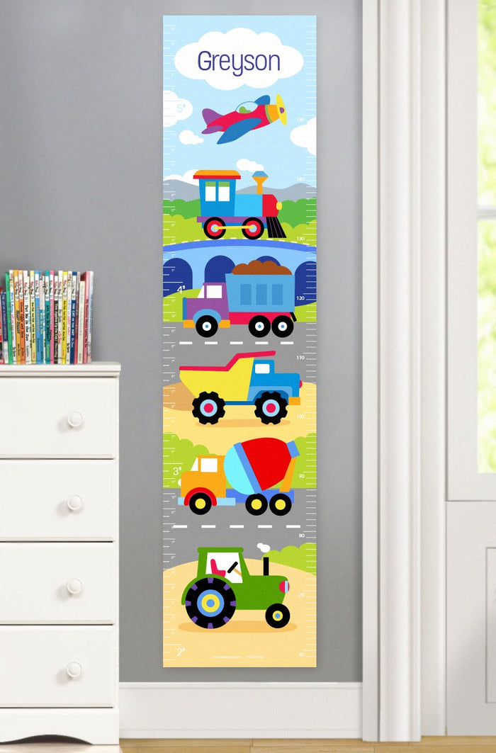 Train Air Plane Construction Trucks Height Kids Personalized Growth Chart Self-Adhesive or Canvas