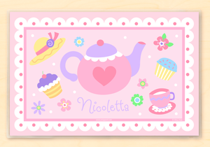 "Tea Party Cupcakes Teapot Pink Personalized Placemat 18"" x 12"" with Alphabet"
