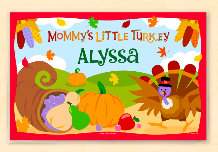 "Mommy's Little Turkey Thanksgiving Personalized Placemat 18"" x 12"" with Alphabet"