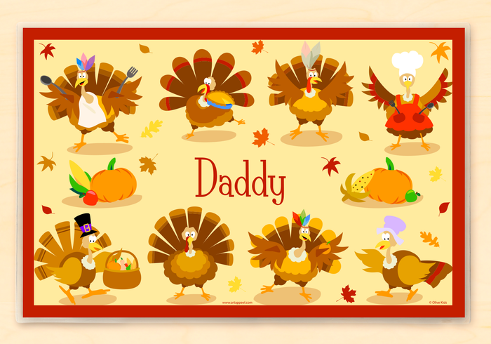 "Thanksgiving Silly Turkeys Personalized Placemat 18"" x 12"" with Alphabet"