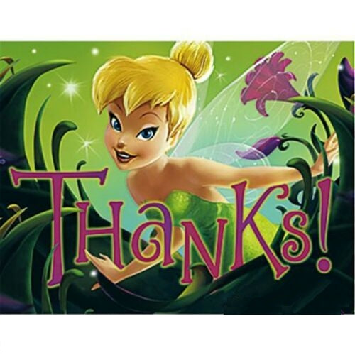 Tinkerbell Birthday Party Thank You Cards 8 CT