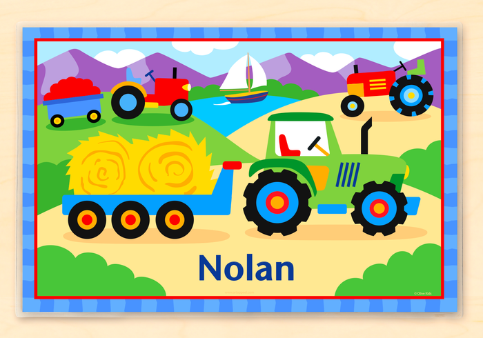 "Farm Tractor Kids Personalized Placemat 18"" x 12"" with Alphabet"