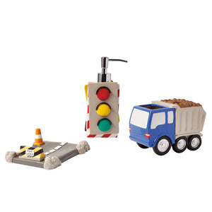 3pc Bath Accessory Set Trucks & Construction
