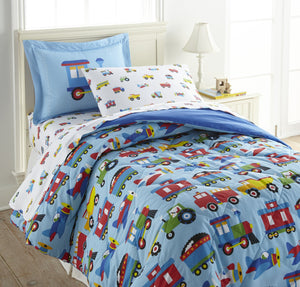 Trains Planes Trucks Fire Trucks Cotton Bed in a Bag Toddler, Twin, Full Bedding Comforter & Sheet Set