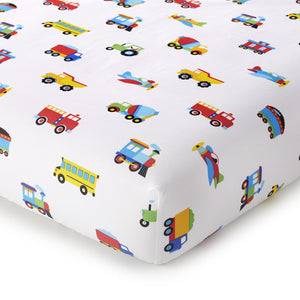 Trains Planes Trucks Cotton Fitted Baby Crib Sheets 2-Pack