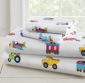 Trucks Trains Air Planes Kids Bed Sheet Sets Crib Toddler Twin Full Transportation Construction Cotton or Microfiber