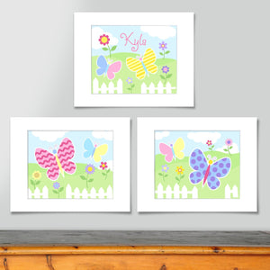 Butterfly Garden Kids Wall Art Personalized Print - Set of 3