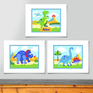 Dinosaur Kids Wall Art Print Personalized - Set of 3 - T-Rex Brontosaur Triceratops