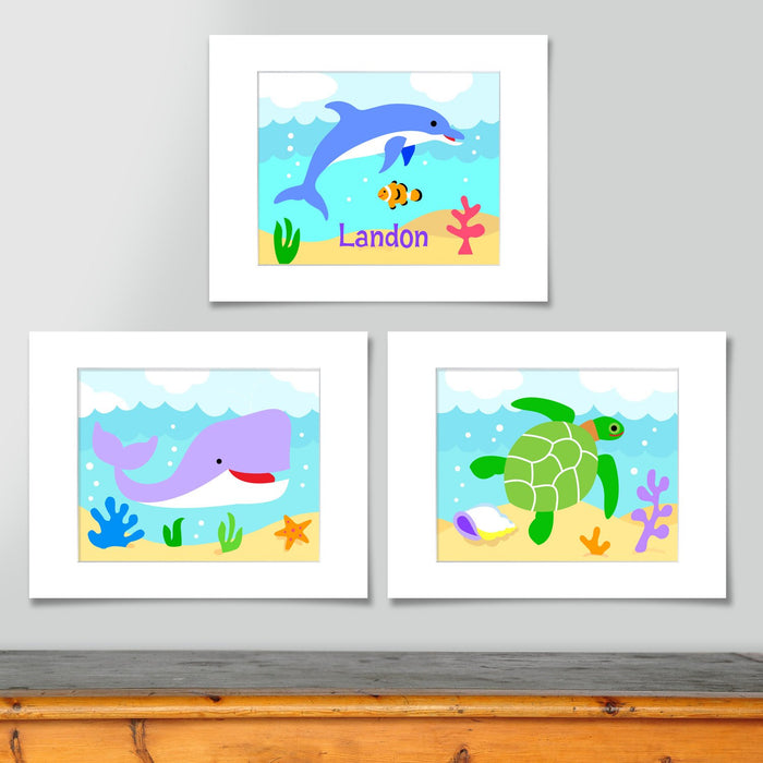 Ocean Fish Kids Wall Art Personalized Print - Set of 3 - Whale Dolphin Turtle