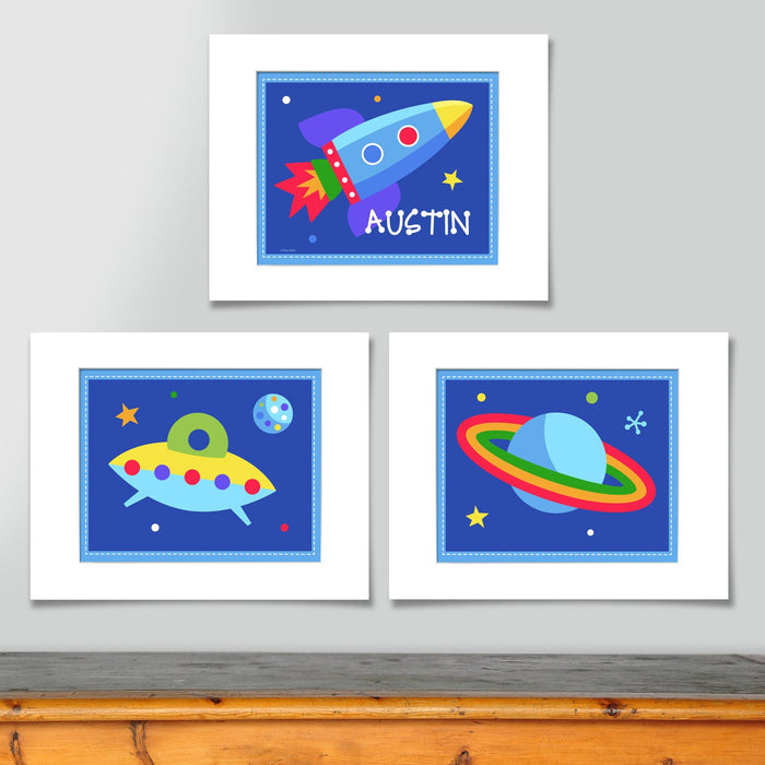 Outer Space Galaxy Wall Art Print Personalized - Set of 3 - Rocket UFO Saturn Planet
