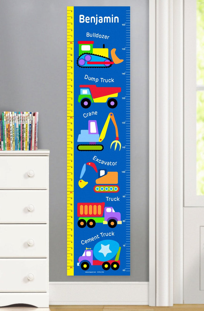 Kids Blue Construction Trucks Personalized Height Growth Chart Self-Adhesive or Canvas