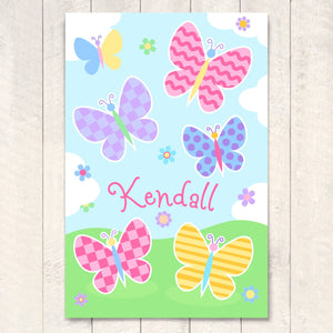"Butterfly Garden Personalized Kids Wall Art Print 12"" x 18"""