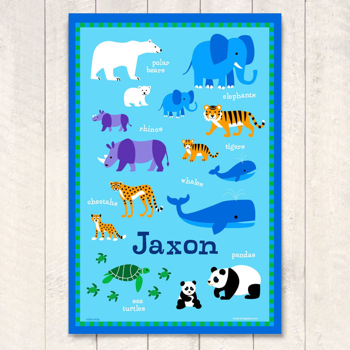 "Wild Animals Personalized Kids Wall Art Print 12"" x 18"""