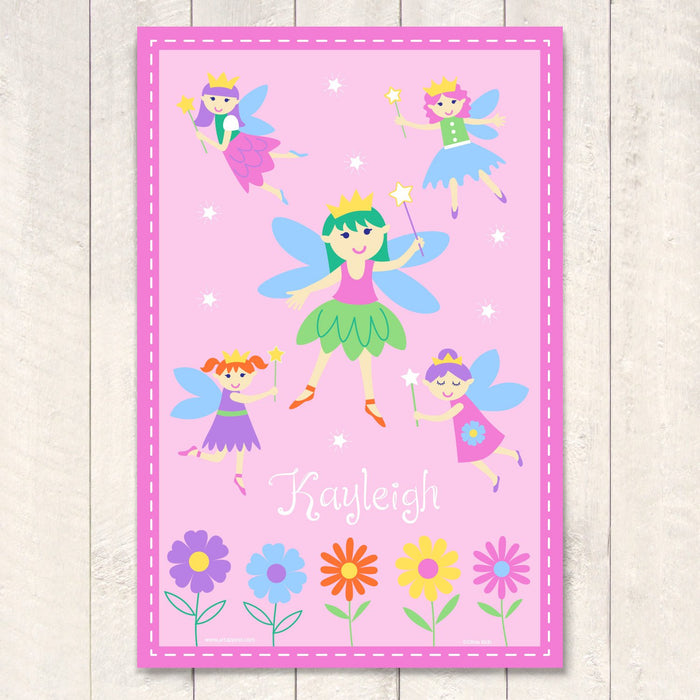 "Pink Fairy Princess Personalized Kids Wall Art Print 12"" x 18"""