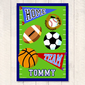 "Sports Icons Personalized Kids Wall Art Print 12"" x 18"""