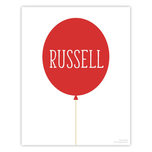 Red Personalized Balloon Art Print