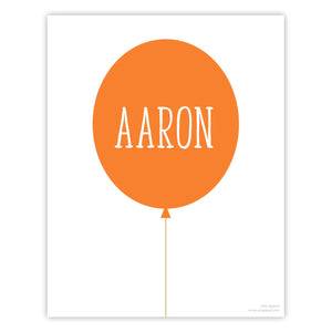 Orange Personalized Balloon Art Print
